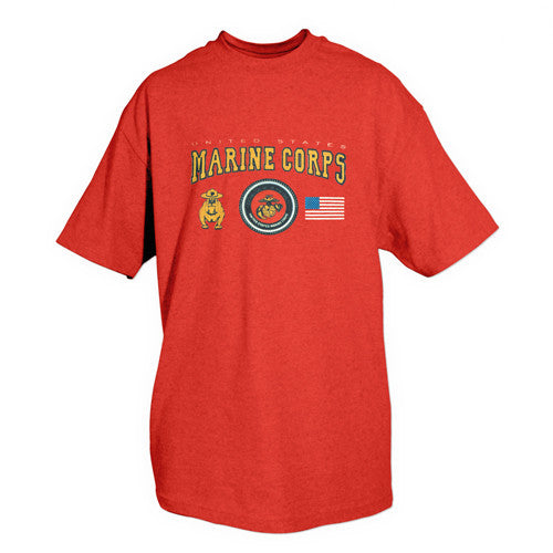 Red Marine Bulldog / EGA / Flag T-Shirt