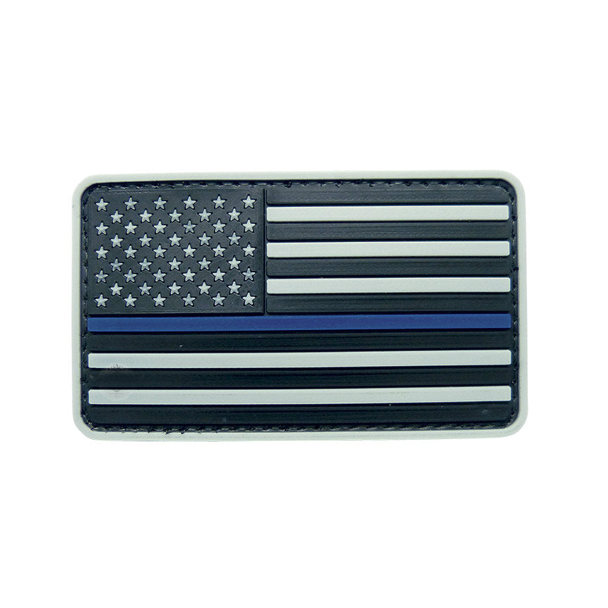 Grey Thin Blue Line Flag Hook & Loop PVC