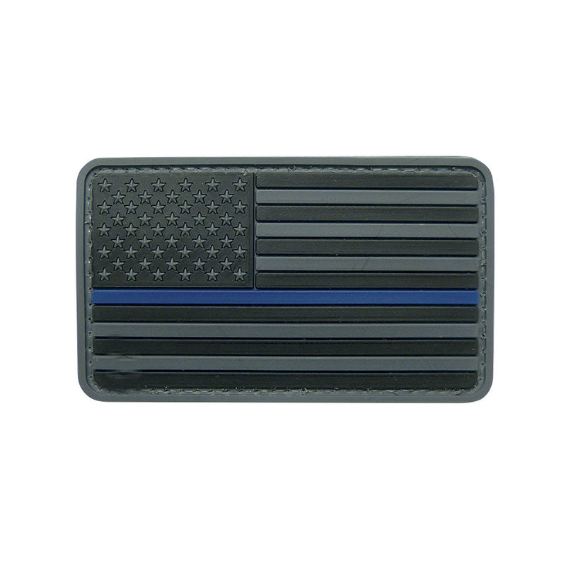 Black Thin Blue Line Flag Patch Hook & Loop PVC