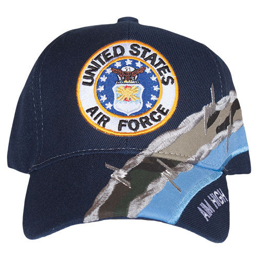 Blue Barbwire Air Force Crest Embroidered Hat