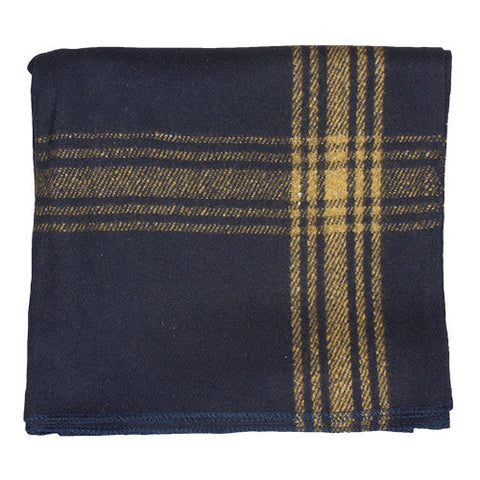 Navy Mustard Striped Wool Blanket - Indy Army Navy