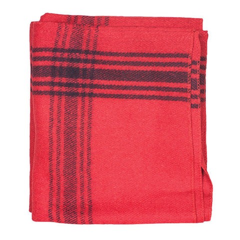 Red Navy Striped Wool Blanket