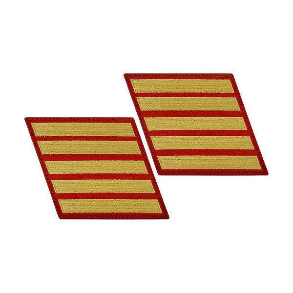 Marine Male Gold / Red 5 Service Stripe Pair