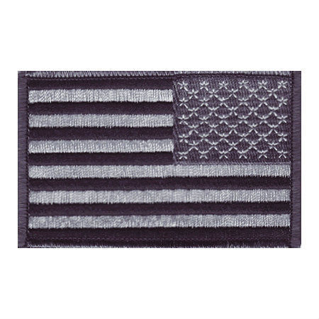 US Black / Gray Reverse Iron On Flag Patch