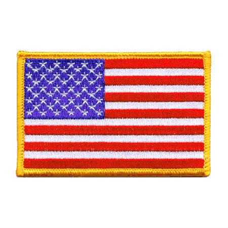 US Gold Border Iron On Flag Patch