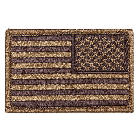Coyote Brown Reverse Hook & Loop US Flag Patch
