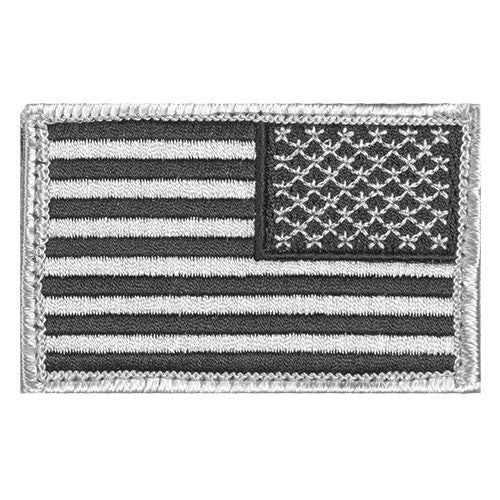 Silver / Grey / Black Reverse Hook & Loop US Flag Patch