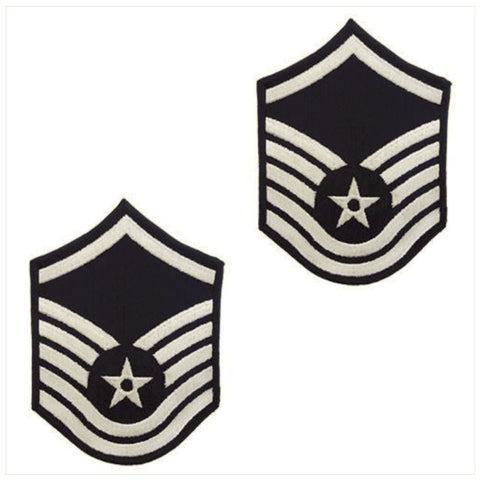 Air Force Silver / Blue Master Sergeant Chevron Set Male (1 Pair)