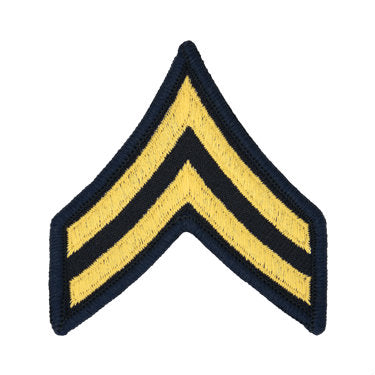 Army Gold / Blue Corporal (E-4) Chevron Set Female (1 Pair)