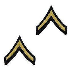 Army Gold / Blue Private (E-2) Chevron Set Male (1 Pair)