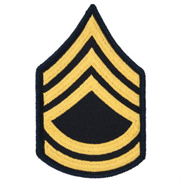 Army Gold / Blue Sergeant First Class (E-7) Chevron Set Female (1 Pair)
