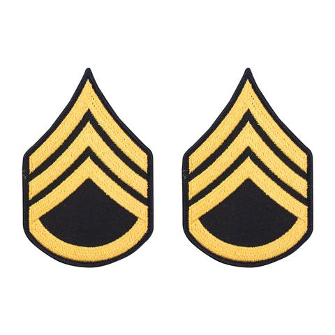 Army Gold / Blue Staff Sergeant (E-6) Chevron Male (1 Pair)