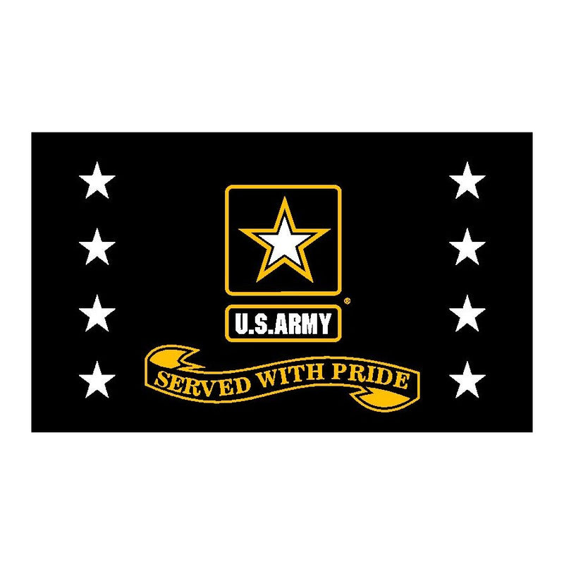 Army Star Served With Pride Flag Black 3' x 5'