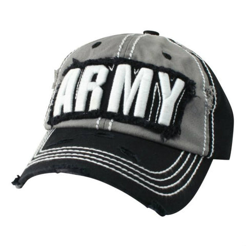 Army Text Hat Grey / White