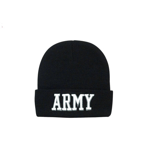 Army Text Watch Cap Black