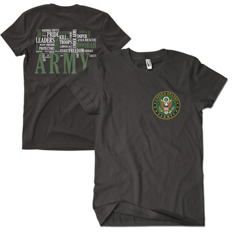Army Words T-Shirt Black