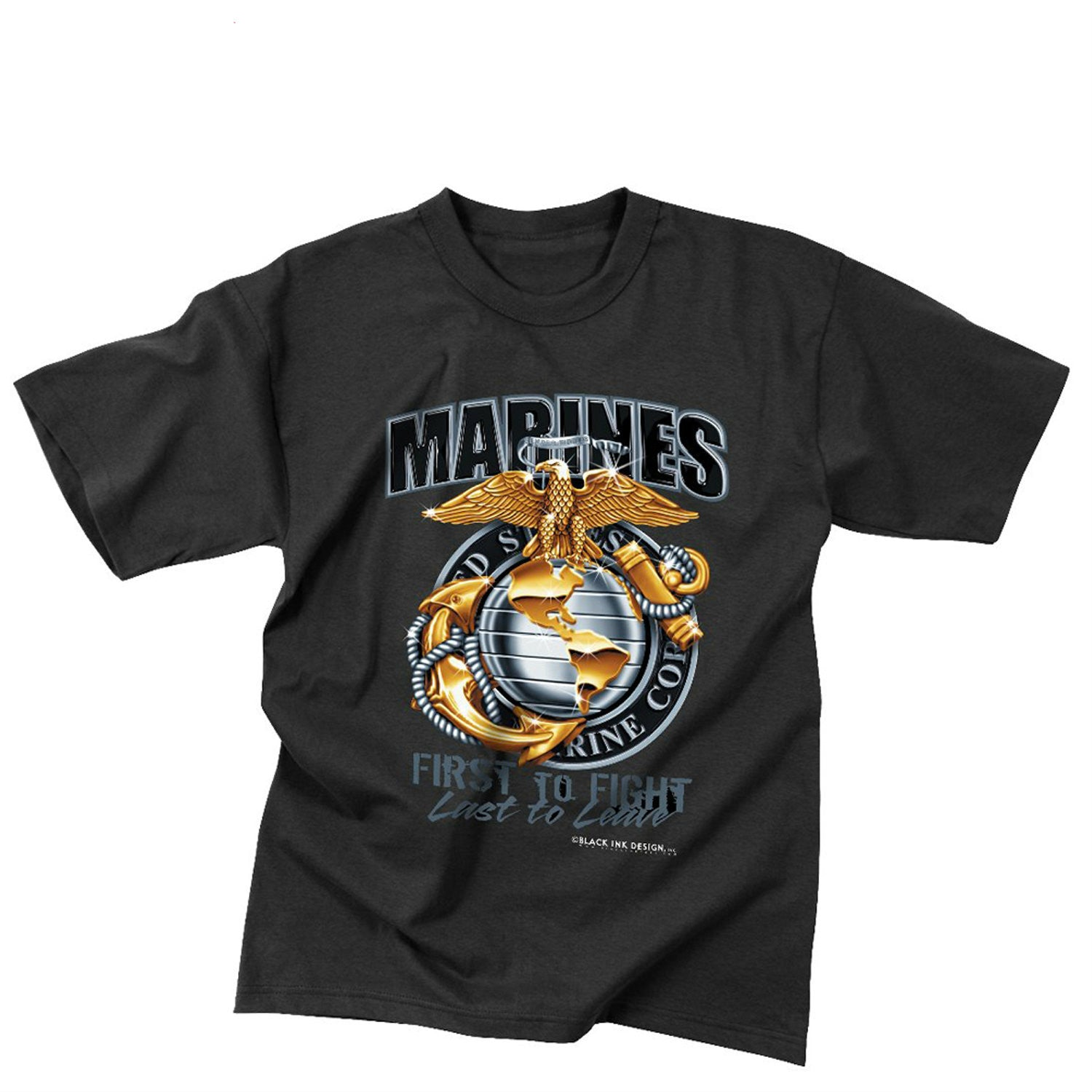 Black Ink Marines First To Fight T-Shirt Black
