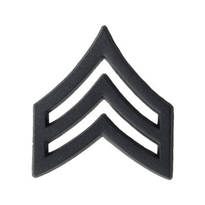 Army Sergeant (E-5) Rank Black Metal (Pair)