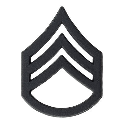 Army Staff Sergeant (E-6) Rank Black Metal (Pair)