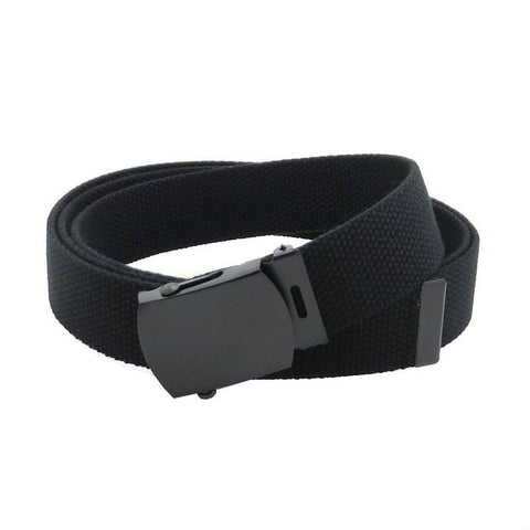 Black Military Style Web Belt With Black Buckle and Tip
