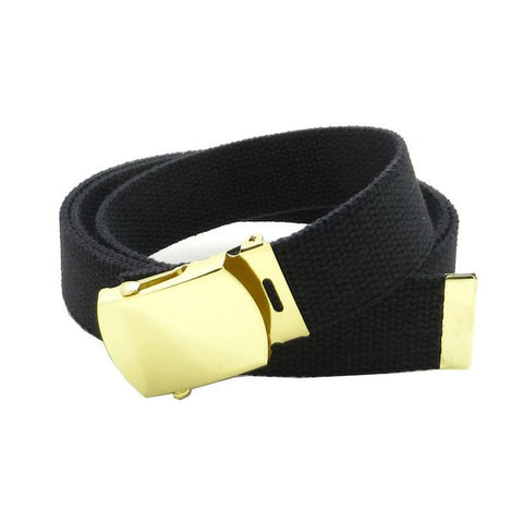 Black Military Style Web Belt With Brass Buckle and Tip
