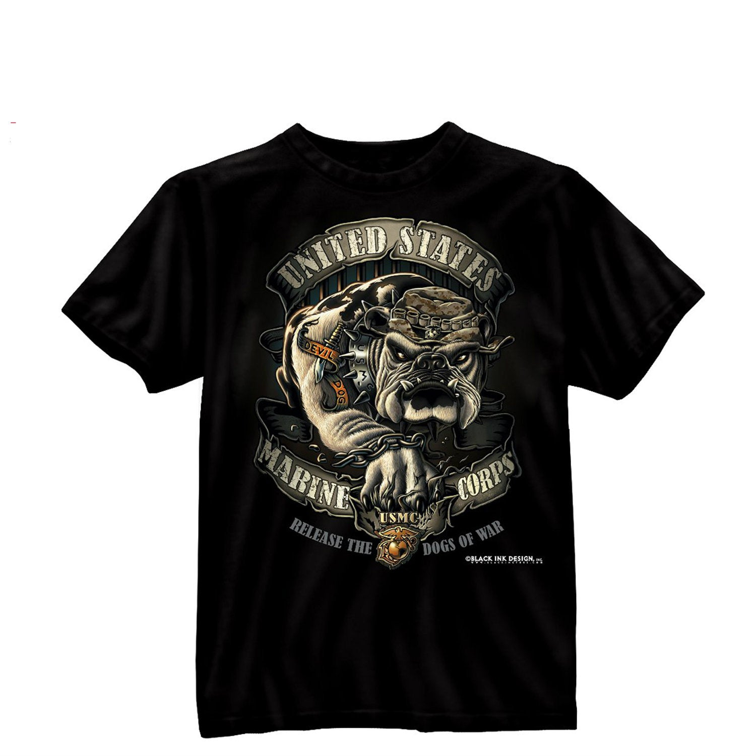 Black Ink USMC Bulldog T-Shirt Black
