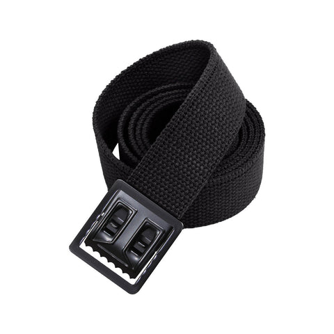 Black Military Style Web Belt With Black Open Face Buckle and Tip
