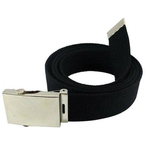 Black Military Style Web Belt With Silver Buckle and Tip
