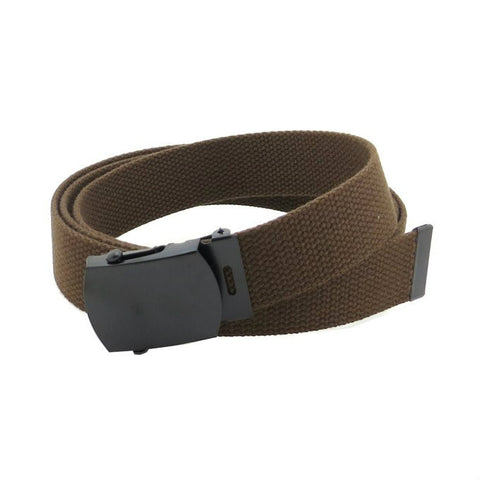 Brown Military Style Web Belt With Black Buckle and Tip