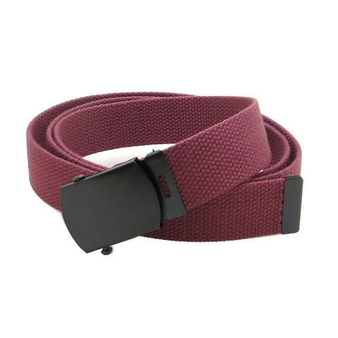 Burgundy Military Style Web Belt With Black Buckle and Tip