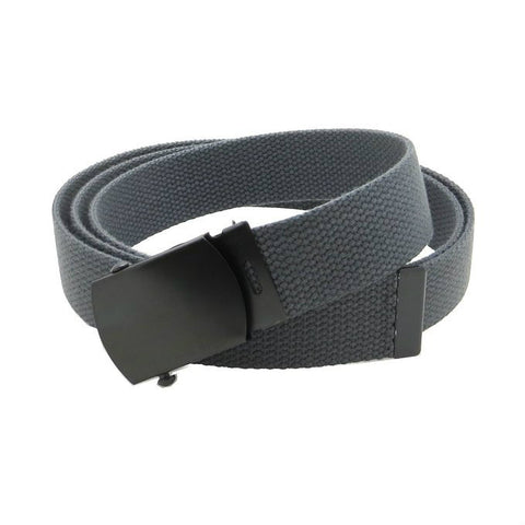 Charcoal Grey Military Style Web Belt With Black Buckle and Tip