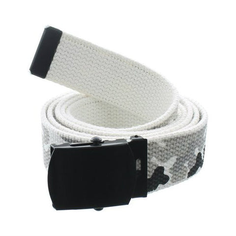City Camouflage Military Style Web Belt With Black Buckle and Tip