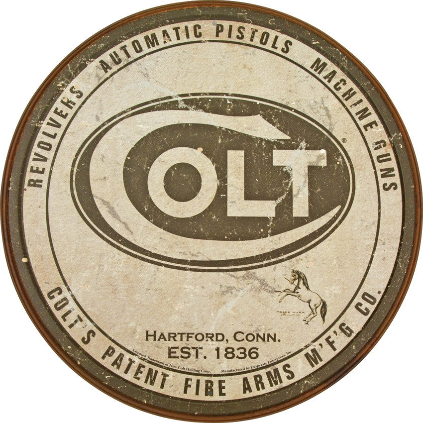 Colt Round Logo Tin Sign - Indy Army Navy