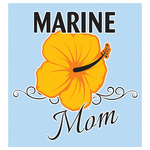 Marine Mom With Flower Decal