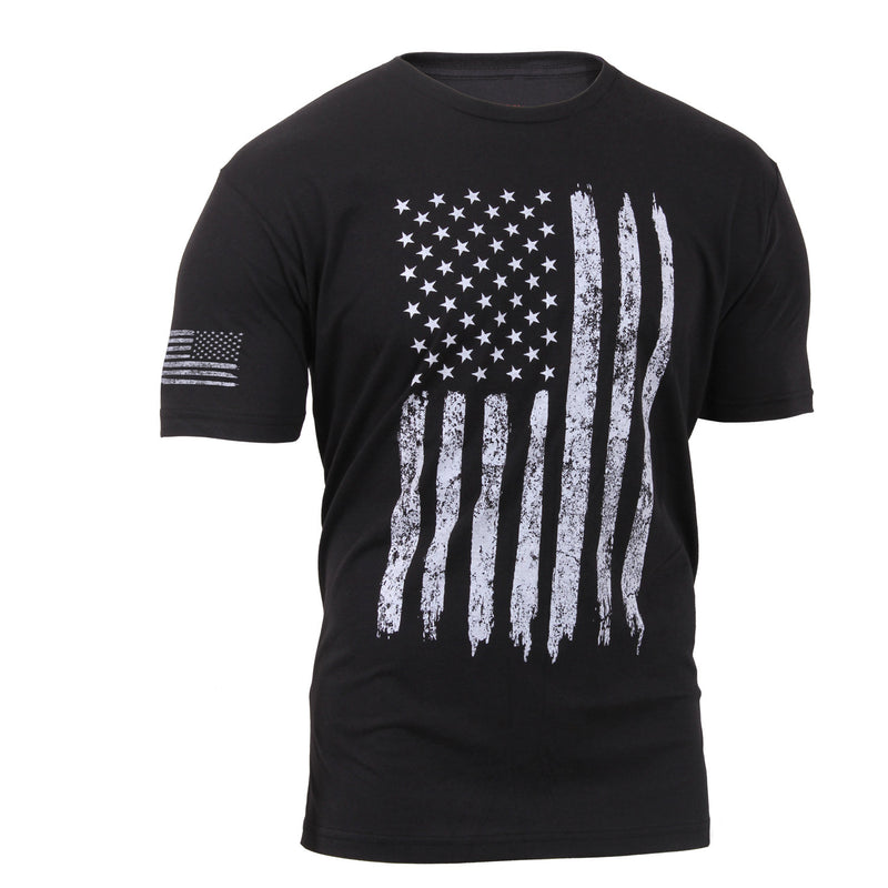 Distressed US Flag With Sleeve Print T-Shirt Black