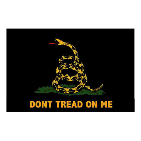 Embroidered Gadsden Don't Tread Flag Black 3' x 5'