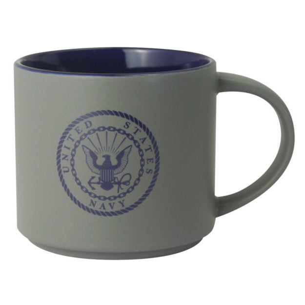 Navy Crest 16oz Stoneware Mug Gray / Blue