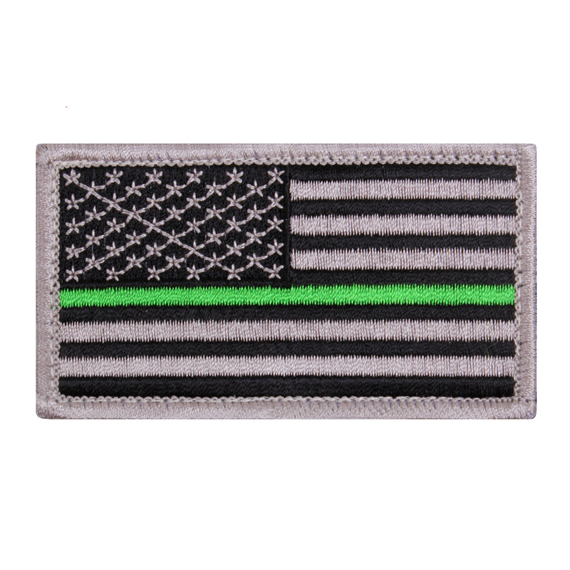 Hook & Loop American Flag Thin Green Line / SIlver / Black