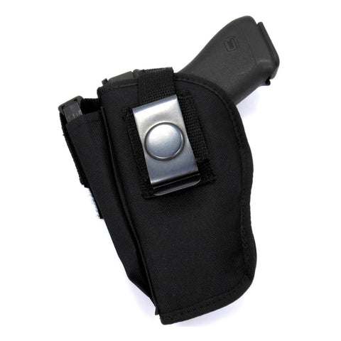 "Belt Clip OWB Thumb Break Holster With Mag Pouch For Medium Frame Semi Auto 380's, & Small Frame 1"" - 2"" Revolvers"