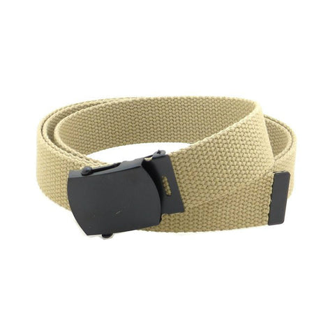 Khaki Military Style Web Belt With Black Buckle and Tip