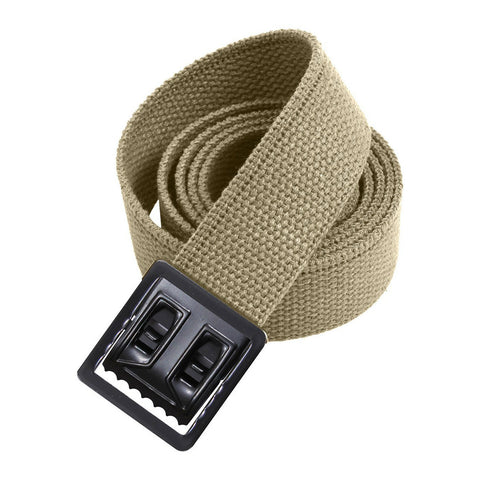 Khaki Military Style Web Belt With Black Open Face Buckle and Tip