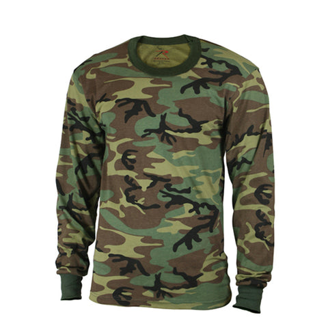 Kids Long Sleeve T-Shirt Woodland Camouflage