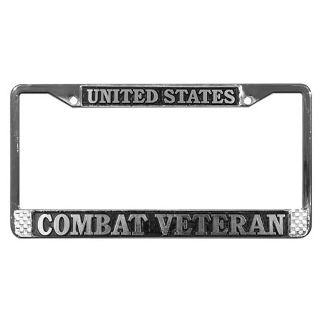 Combat Veteran Metal License Plate Frame