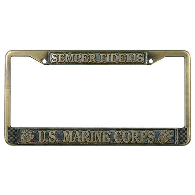US Marine Corps Semper Fidelis Antique Brass License Plate Frame