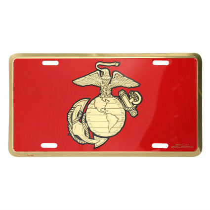 Marine EGA Emblem Metal License Plate Red