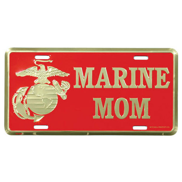 Marine Mom EGA Metal License Plate