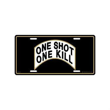 One Shot One Kill License Plate - Indy Army Navy