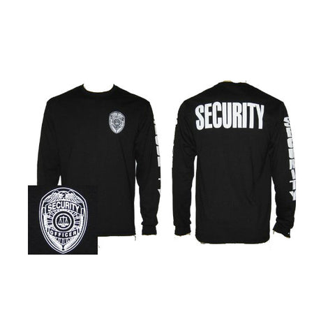 Long Sleeve Security Badge T-Shirt Black With Sleeve Imprint