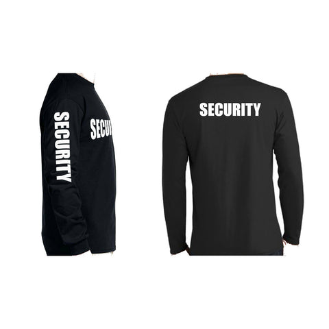 Long Sleeve Security T-Shirt With Sleeve Imprint Black