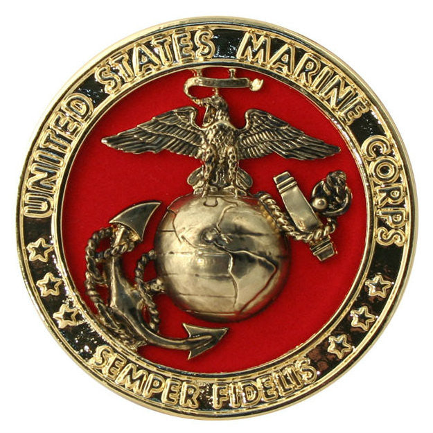 Metal Marine EGA Emblem With Red Backing (4 Inch)